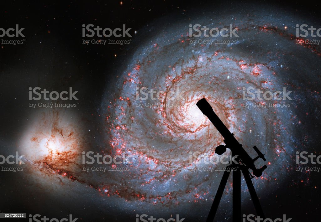 Space background with silhouette of telescope. Whirlpool Galaxy. Spiral galaxy M51 or NGC 5194 stock photo