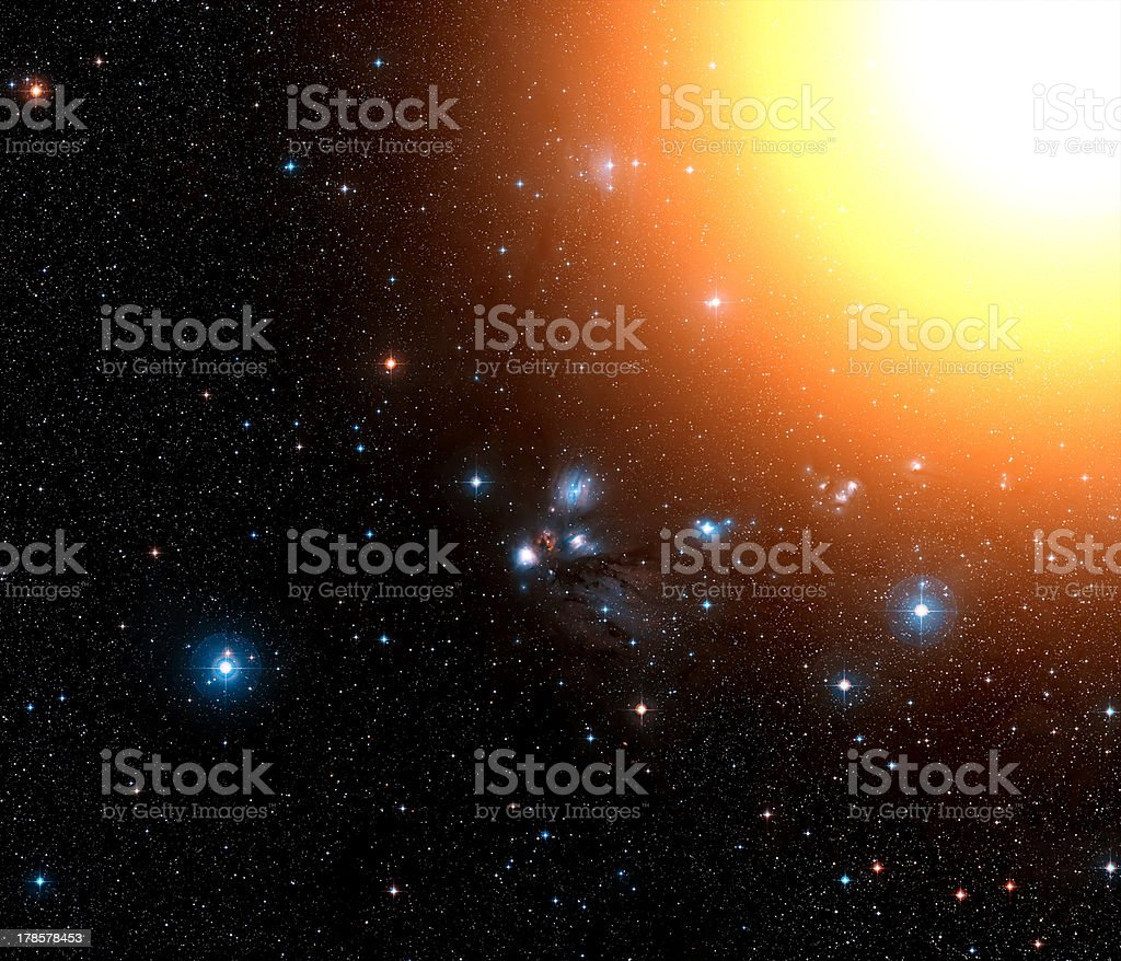 Space background with stars and sunshine. royalty-free stock photo