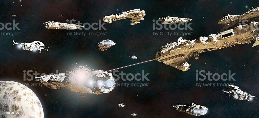 Space Battle Fleet in Action stock photo