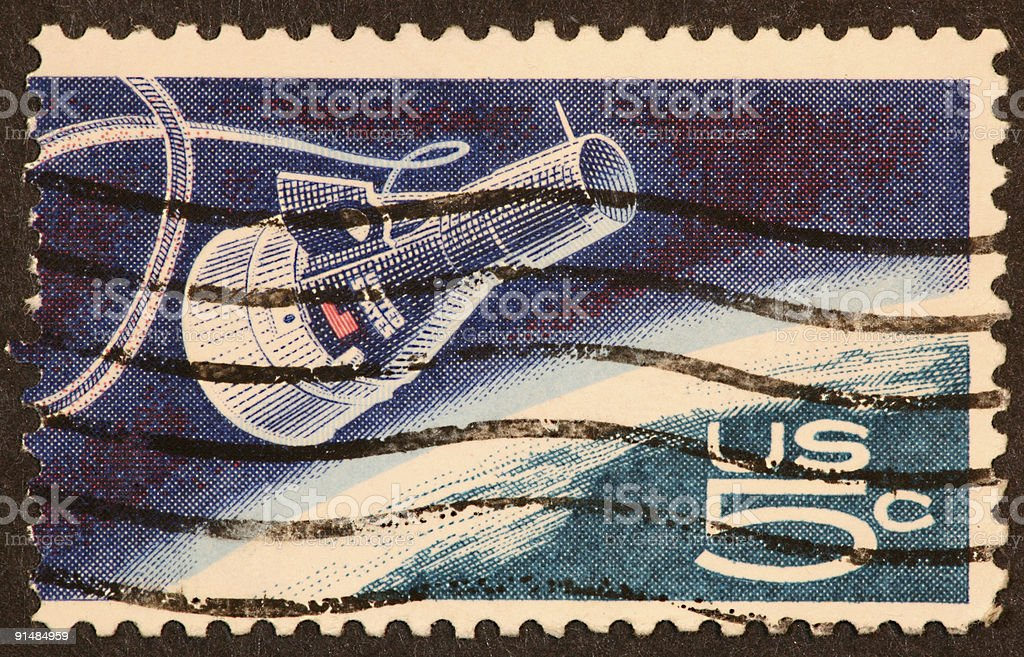 space capsule stamp 1960's royalty-free stock photo