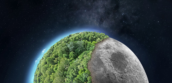 Abstract image of the Moon half-covered with greenery - conceptual image for space colonization, environmental issues etc.