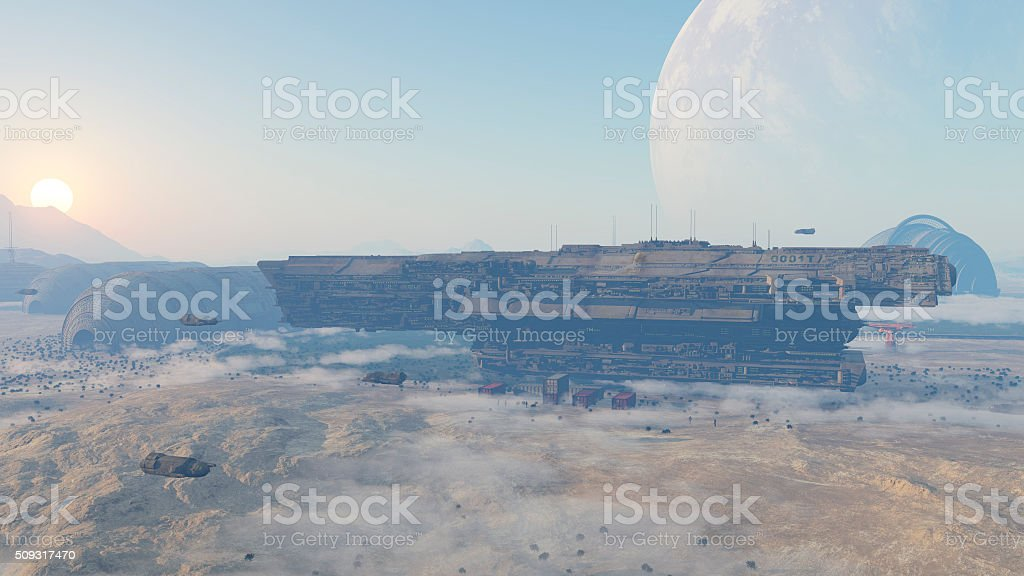 space colony stock photo