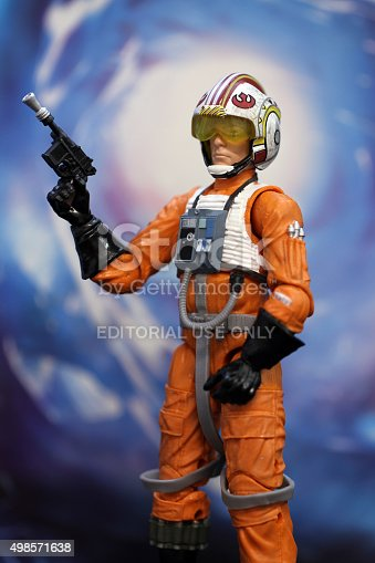 Vancouver, Canada - November 15, 2015: Luke Skywalker from the Star Wars film franchise against a blue background. The toy is part of the Black Series line of toys.