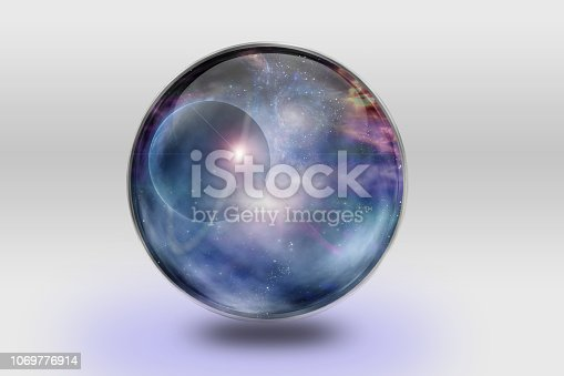 Space is contained inside of glass sphere