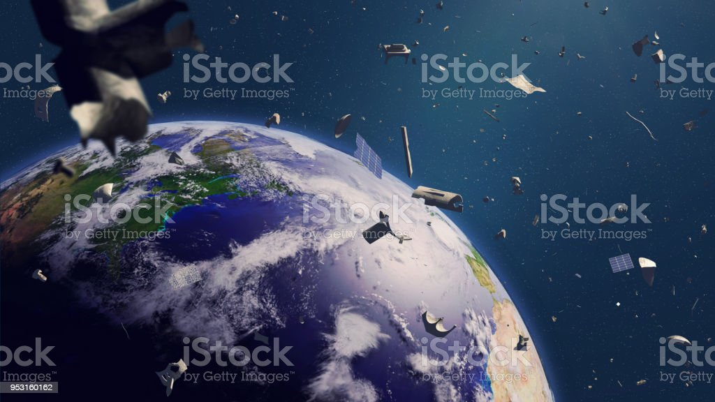 space debris in Earth orbit, dangerous junk orbiting around the blue planet stock photo
