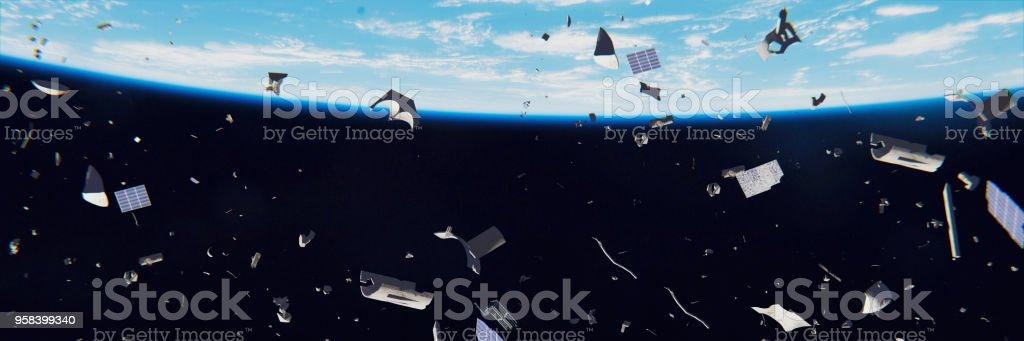 desechos espaciales en órbita de la tierra, basura peligrosa en órbita alrededor del planeta azul - Foto de stock de Accidentes y desastres libre de derechos