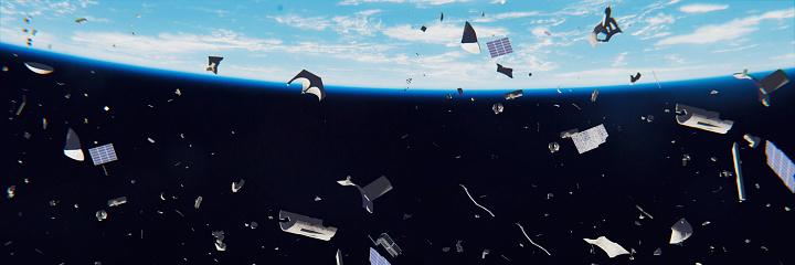 Desechos Espaciales En Órbita De La Tierra Basura Peligrosa En Órbita Alrededor Del Planeta Azul Foto de stock y más banco de imágenes de Accidentes y desastres