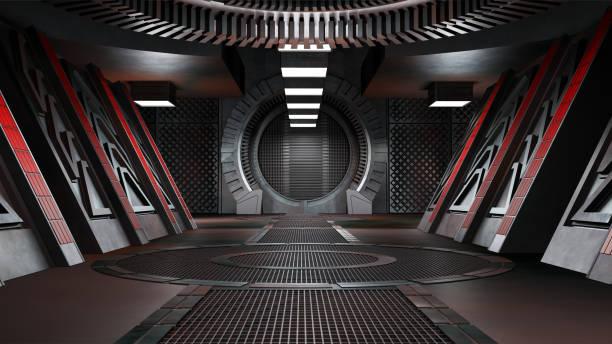 ruimteomgeving, klaar voor comp van uw characters.3d-rendering - ruimtevaart voertuig stockfoto's en -beelden