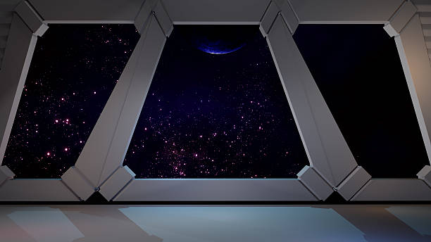 space environment, ready for comp of your characters.3d rendering - raumschiffe stock-fotos und bilder