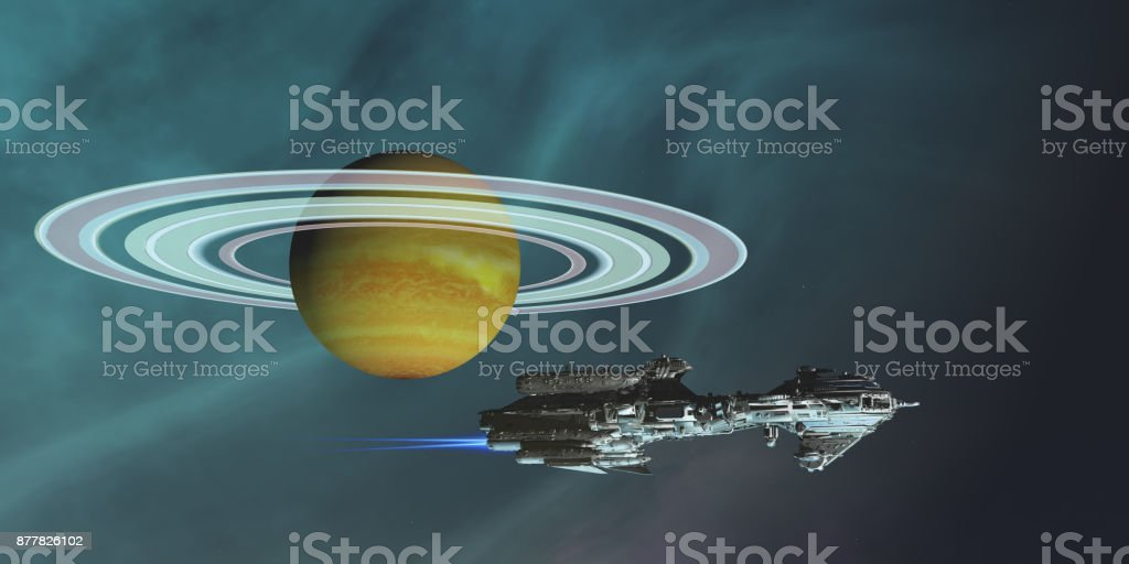 Space Frigate Freighter stock photo