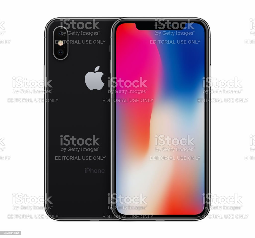 Space Gray Apple iPhone X mockup front view with wallpaper screen and iPhone 10 back side behind it stock photo