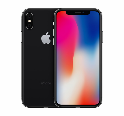 Space Gray Apple Iphone X Mockup Front View With Wallpaper