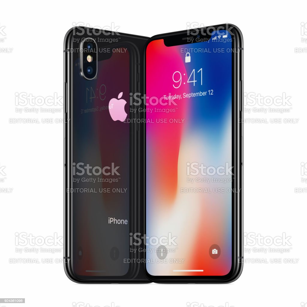 Space Gray turned Apple iPhone X mockup front side and back side facing each other stock photo