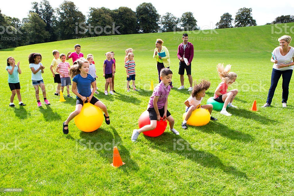 Space Hopper Challenge stock photo