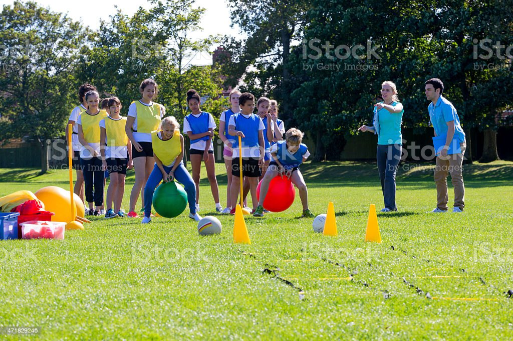 Space Hopper Obstacle Course stock photo