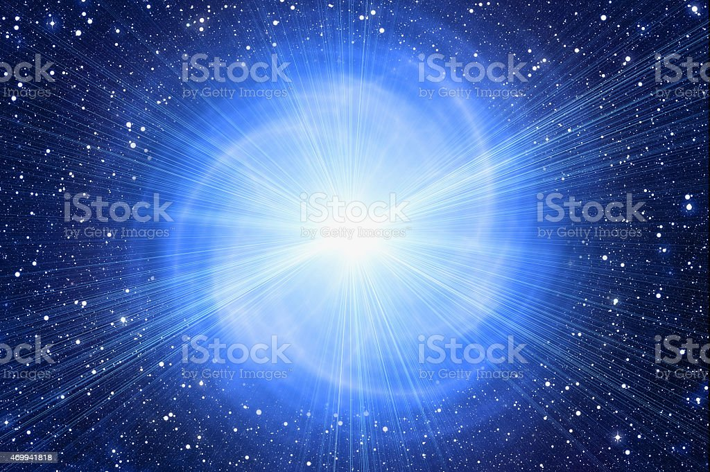 Space image of white flash with stars in background stock photo