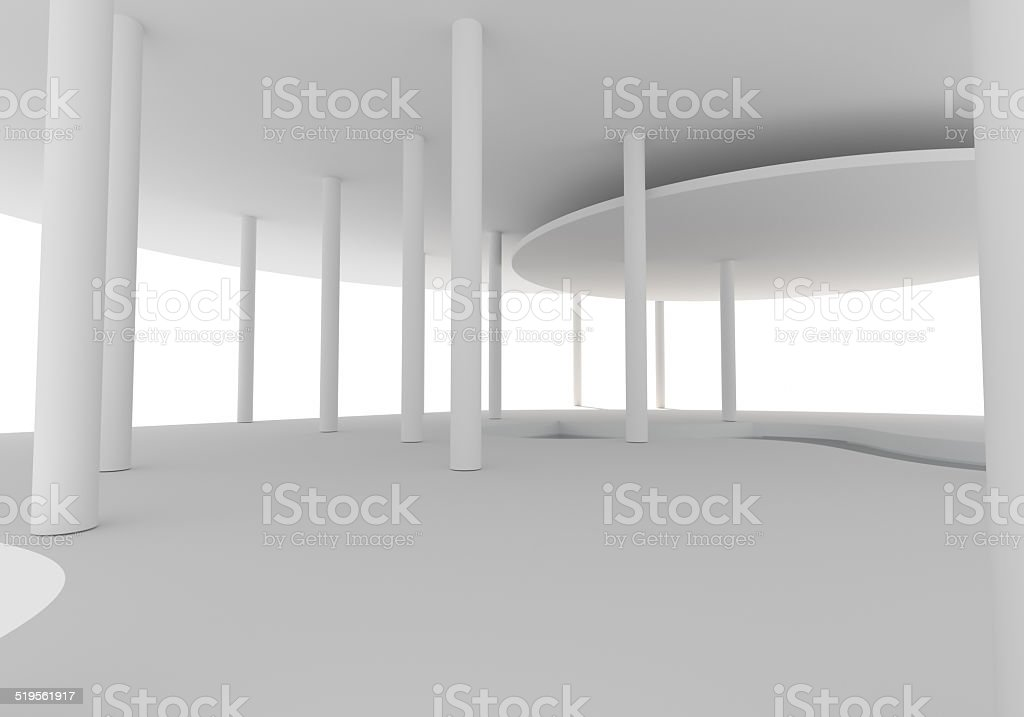 Space Interior Curve Construction stock photo