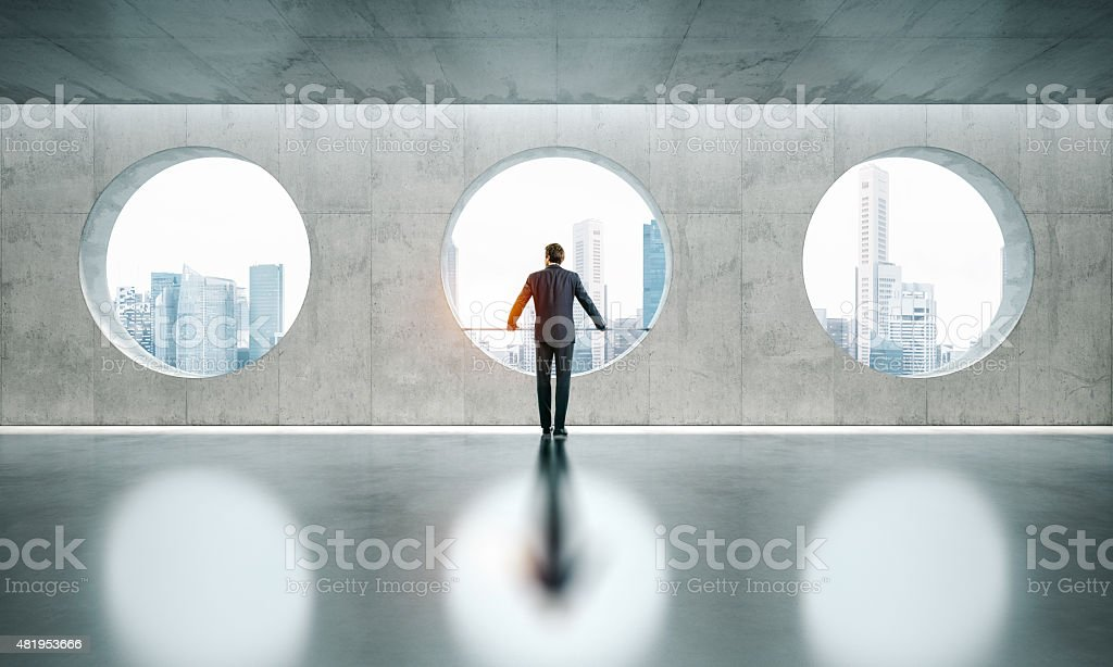 Space interior with three windows and bussinesman stock photo
