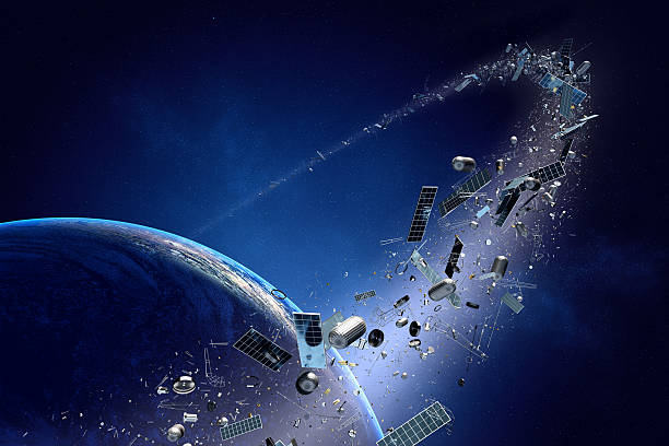pollution espace publicitaire) en orbite autour de la terre ( - détritus photos et images de collection