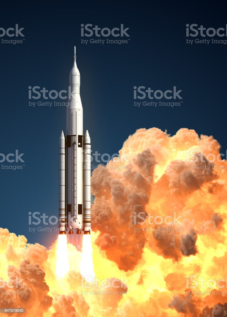 Space Launch System In The Clouds Of Fire stock photo