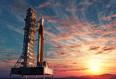 Space Launch System On Launchpad Over Background Of Sunrise. 3D Illustration.