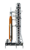 Space Launch System On Launchpad. 3D Illustration. NASA Images Not Used.