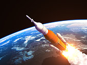 Space Launch System Over The Earth. 3D Illustration. NASA Images Not Used.
