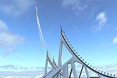 3D illustration of futuristic rocket
