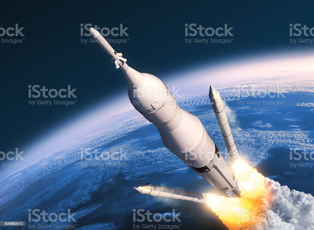 Space Launch System Solid Rocket Boosters Separation stock photo
