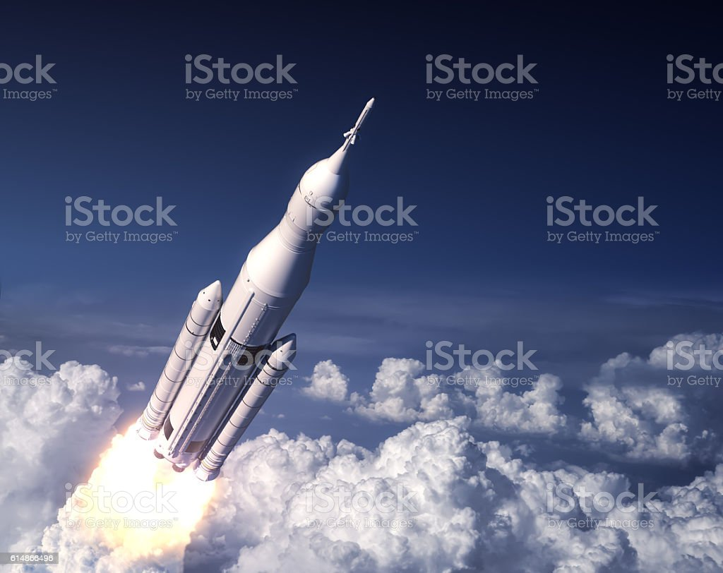Space Launch System Takes Off In The Blue Sky stock photo