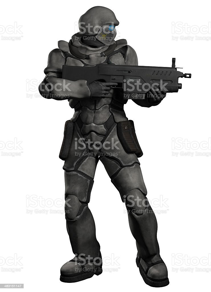 Space Marine Trooper with Heavy Rifle stock photo