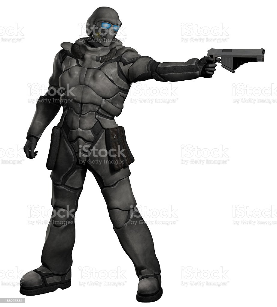 Space Marine Trooper with Pistol stock photo