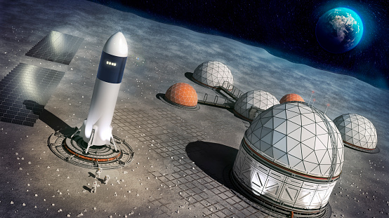 3d concept illustration of a settlement on the surface of the moon. The picture show the settlement with a rocket and the Earth in the background.