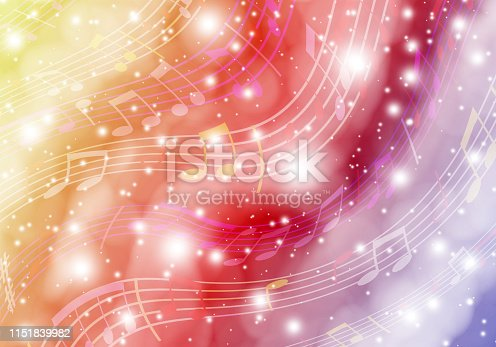 Space music. Abstract background with fantastic space and musical symbols. Illustration.