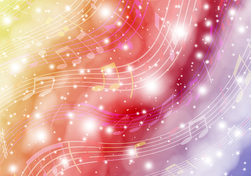 Space music. Abstract background with fantastic space and musical symbols.