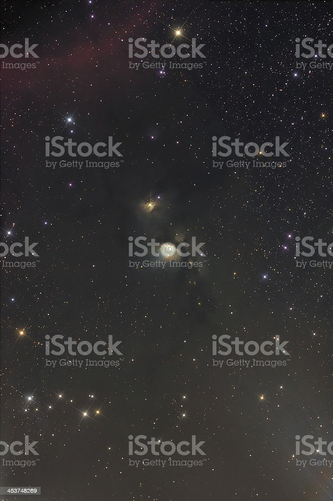 Wide view of Messier 78 nebula in Orion constellation with...