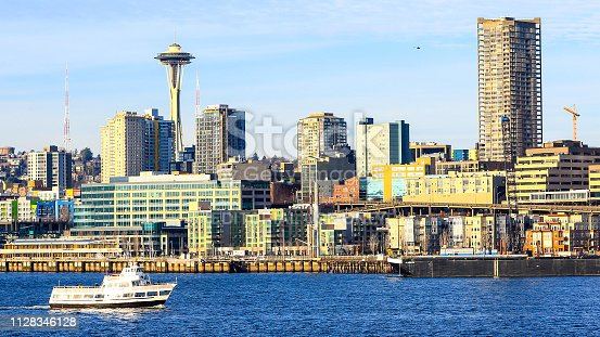 Seattle, Washington, USA - January 26, 2019: Downtown Seattle Washington and The Space Needle seen from Puget Sound.
