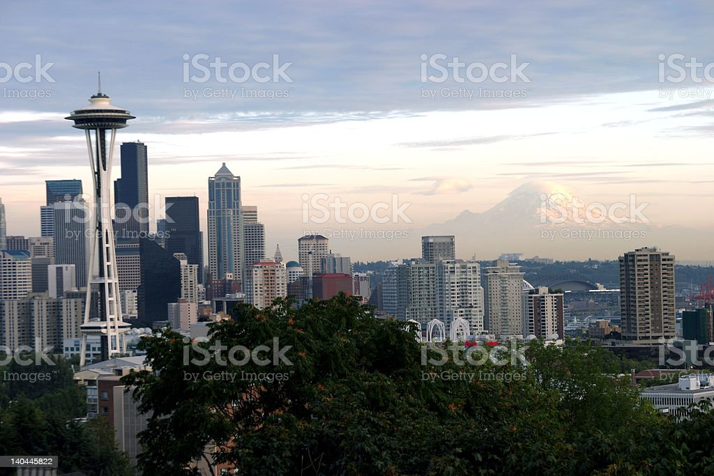 Space Needle and Mt Raineer royalty-free stock photo