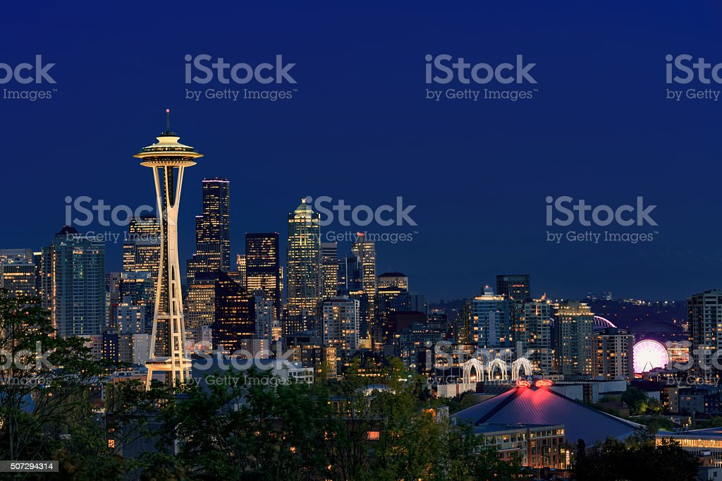 Space Needle and Seattle downtown at night stock photo