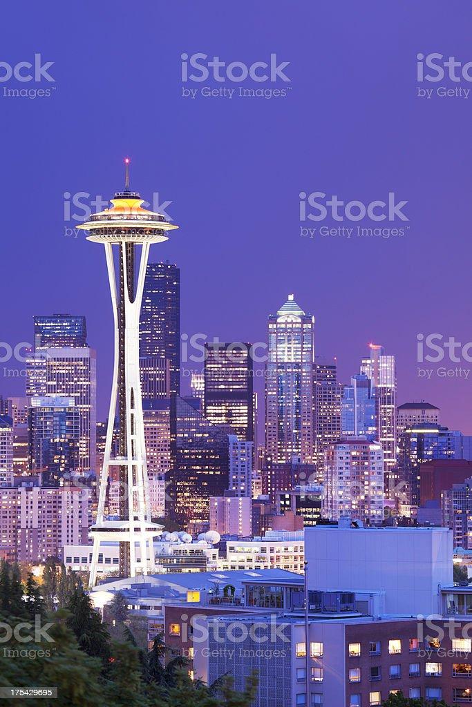 Space Needle and skyline of Seattle, Washington, USA at night stock photo