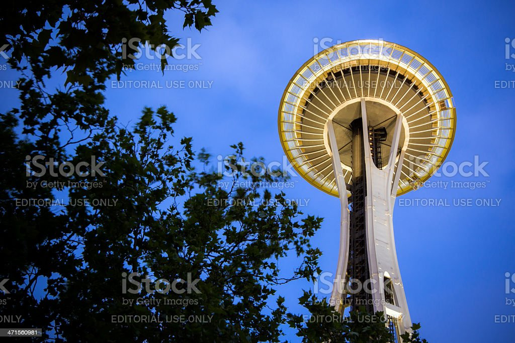 Space Needle at night in Seattle Center royalty-free stock photo