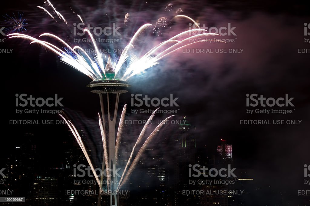 Space Needle Fireworks royalty-free stock photo