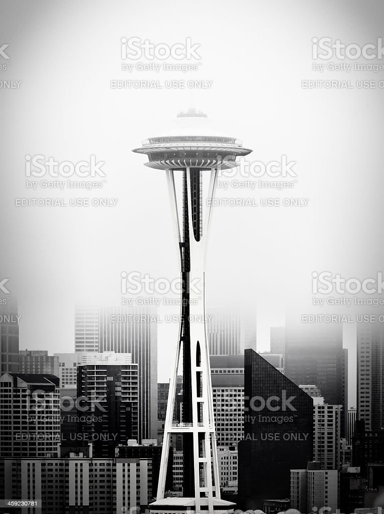 Space needle in the mist stock photo