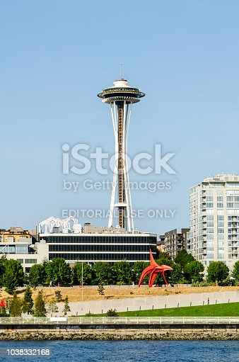 Space Needle & Olympic Sculpture Park in Seattle, Washington, USA on the 5th August 2018