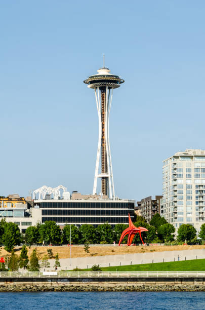 Space Needle & Olympic Sculpture Park stock photo