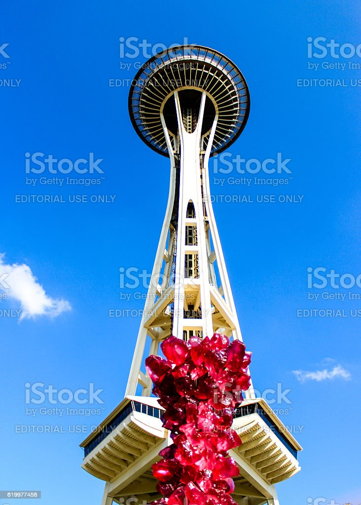 Space Needle with Chihuly glass work stock photo