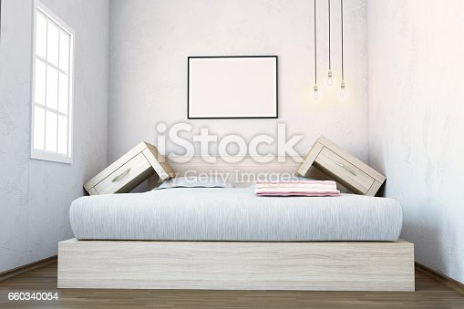 Space Problem In Bedroom Interior, 3d generated image