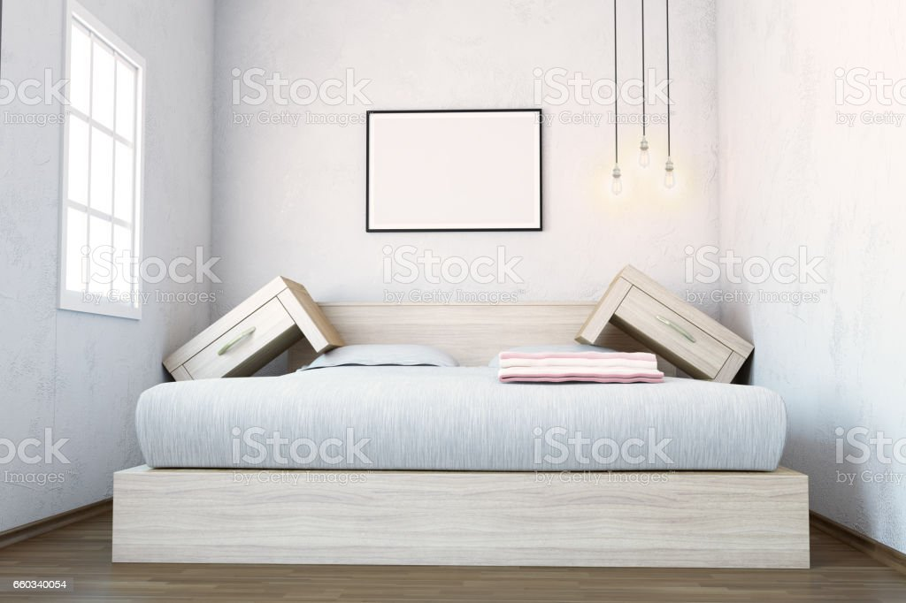 Space Problem In Bedroom Interior stock photo