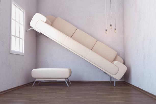 platzproblem im wohnzimmer interior - kreativer speicher stock-fotos und bilder