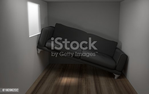 istock Space problems in the small living room 3d render 616096202